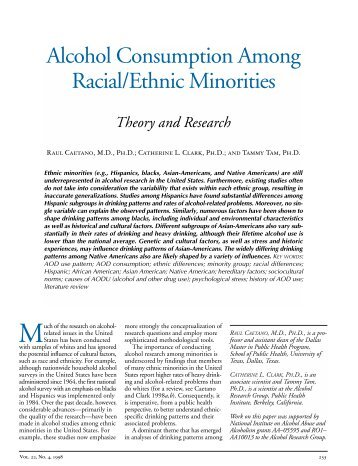 Alcohol Consumption Among Racial/Ethnic Minorities: Theory and
