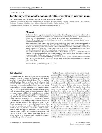Inhibitory effect of alcohol on ghrelin secretion in - European Journal ...
