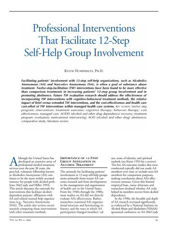Professional Interventions That Facilitate 12-Step Self-Help Group ...