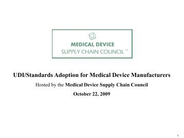 Meeting Agenda - the Medical Device Supply Chain Council