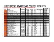 IERARHIZAREA STUDEN ILOR ANULUI II (2010-2011)