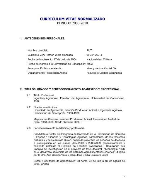 Curriculum Vitae Normalizado Facultad De Agronomia