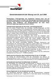 Gemeinderatsbericht der Sitzung vom 25. Juni 2008