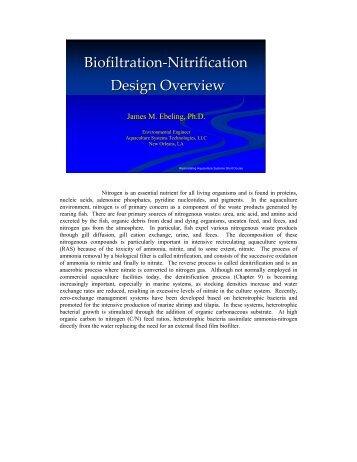 Biofiltration-Nitrification Design Overview
