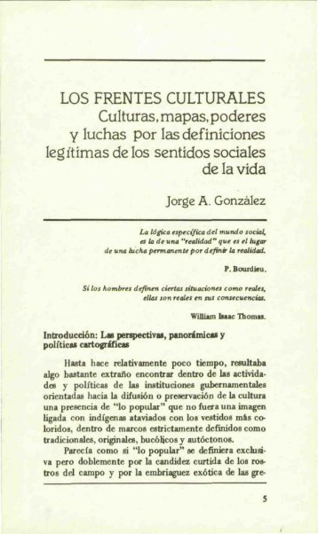 LOS FRENTES CULTURALES Culturas, mapas, podcres Y Iuchas ...