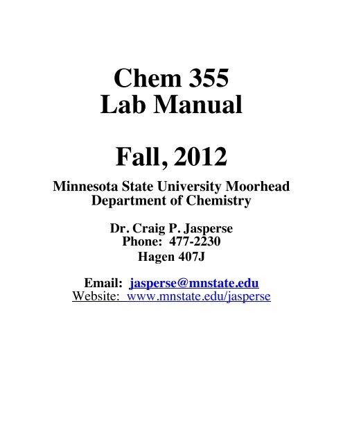 Chem 355 Lab Manual - Minnesota State University Moorhead