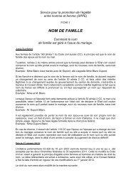 NOM DE FAMILLE - Etat de Genève