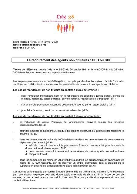 Le Recrutement Des Agents Non Titulaires Cdd Ou Cdi Cdg38