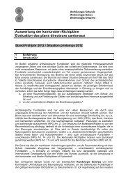 Auswertung der kantonalen Richtpläne - Archäologie Schweiz