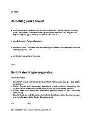 Ratschlag und Entwurf Bericht des Regierungsrates - Basel-Stadt