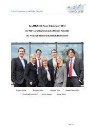 Das MBA-ICC Team Düsseldorf 2012 der - Prof. Dr. Rüdiger Hahn ...