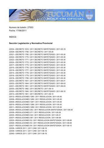 Numero de boletin: 27553 Fecha: 17/06/2011 INDICE ... - Tucumán