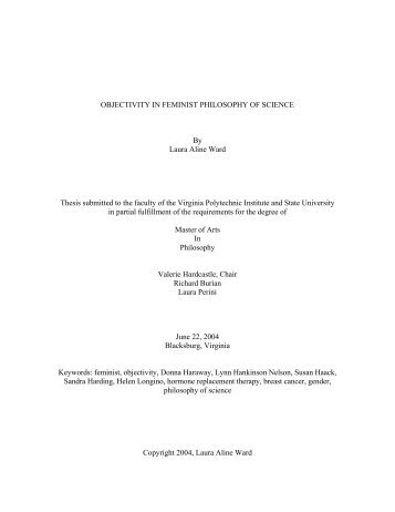 OBJECTIVITY IN FEMINIST PHILOSOPHY OF SCIENCE By Laura ...