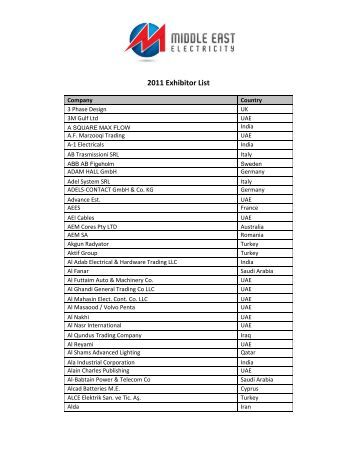 2011 Exhibitor List - Middle East Electricity