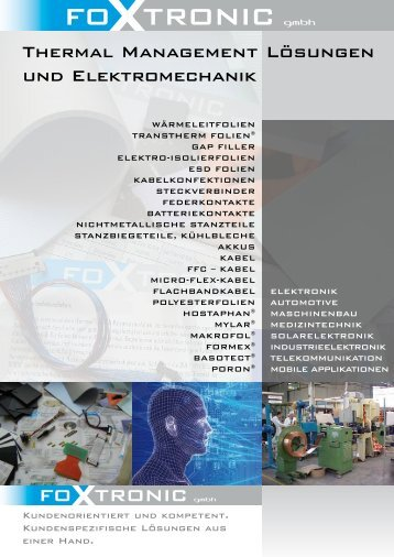 Thermal Management Lösungen und Elektromechanik - Foxtronic