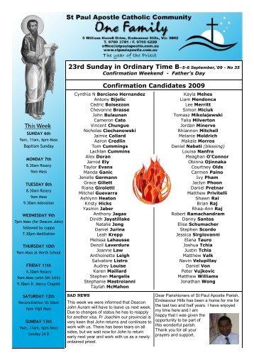 Parish Calendar, News & Events - St Paul Apostle Catholic Community