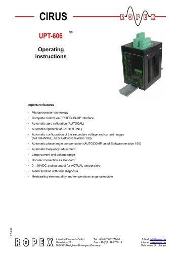 Operating instructions UPT-606 - ropex.de