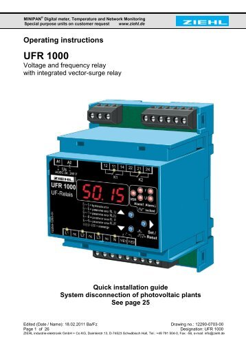 Operating instructions UFR 1000 - ziehl.de