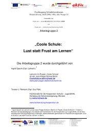 """Coole Schule: Lust statt Frust am Lernen"" - Projekt AKTIV"