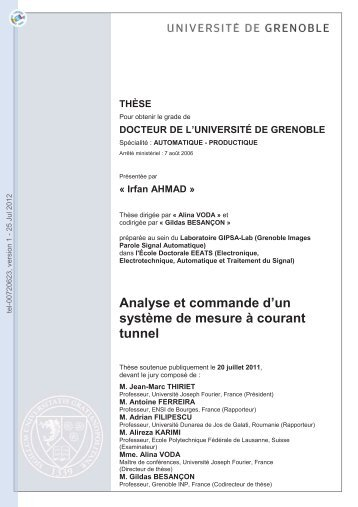Analyse et commande de systèmes de mesure de courant tunnel