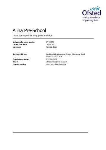Alina Pre-School - Ofsted