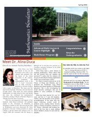 Mathematics Newsletter - Department of Mathematics - North ...