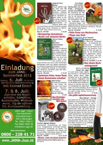 Einladung zum JANA- Sommerfest 2012 - JANA Jagd + Natur ...