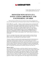 monster wins seven cea innovations 2008 design ... - Monster Cable