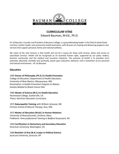 CURRICULUM VITAE Edward Bauman, M.Ed