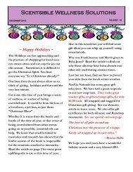 December Newsletter - Scentsible Wellness Solutions