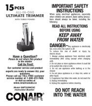 Important Safety InStructIonS Keep away from water do not ... - Conair