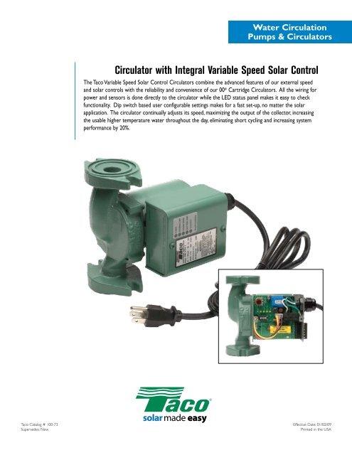 Circulator with Integral Variable Speed Solar Control - Taco
