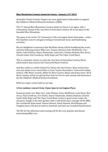 Press Release 1 - Blue Mountains Country Jamm for Genes