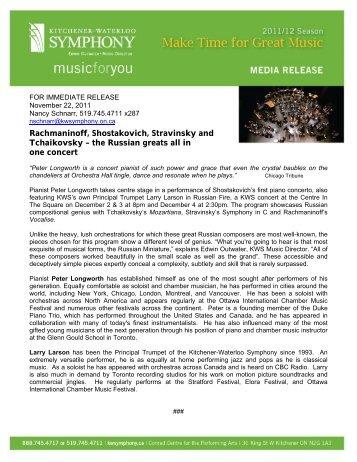 Rachmaninoff, Shostakovich, Stravinsky and - Kitchener-Waterloo ...