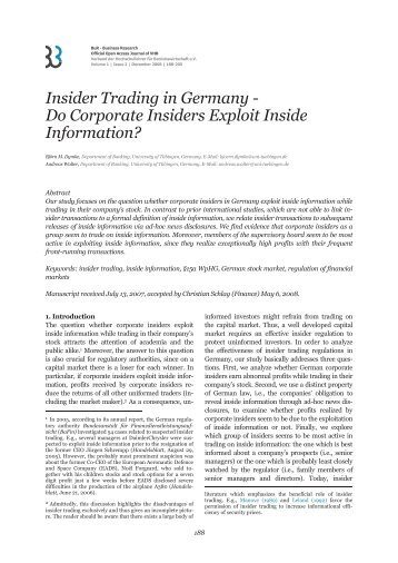 Insider Trading in Germany - BuR - Business Research