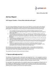 Ad hoc Report - Primacom