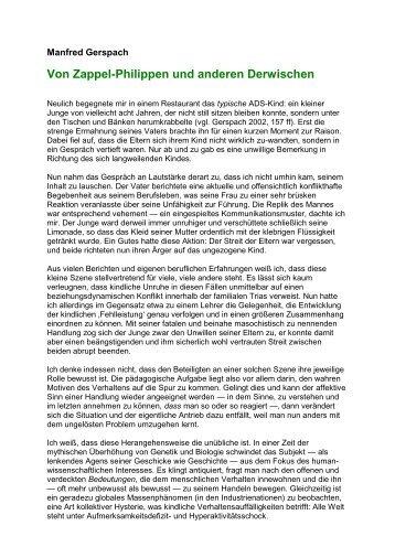 Von Zappel-Philippen und anderen Derwischen - ADS-Kritik