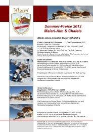 Sommer-Preise 2012 Maierl-Alm & Chalets Miete eines privaten