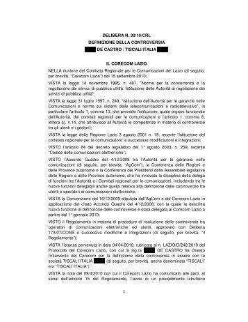 1 DELIBERA N. 30/10/CRL DEFINIZIONE DELLA ... - Corecom
