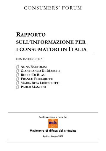 rapporto sull'informazione per i consumatori in italia - Movimento ...