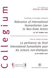 Relevance of International Humanitarian Law to ... - College of Europe