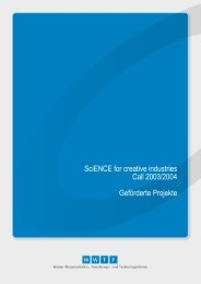 SciENCE for creative industries Call 2003/2004 Geförderte ... - Wwtf.at