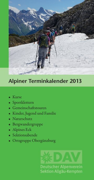Alpiner Terminkalender 2013 - Deutscher Alpenverein Sektion ...