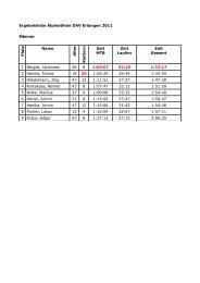 Ergebnisliste Alpinathlon DAV Erlangen 2011 Männer P la tz Name ...