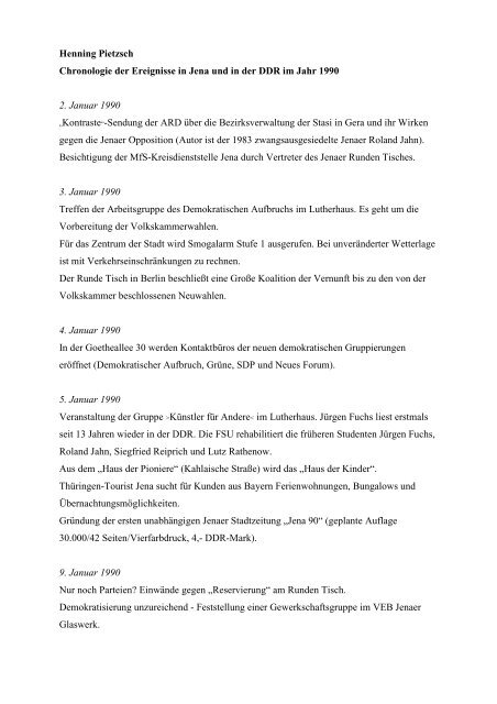 Chronologie für das Jahr 1990 - Geschichtswerkstatt Jena eV