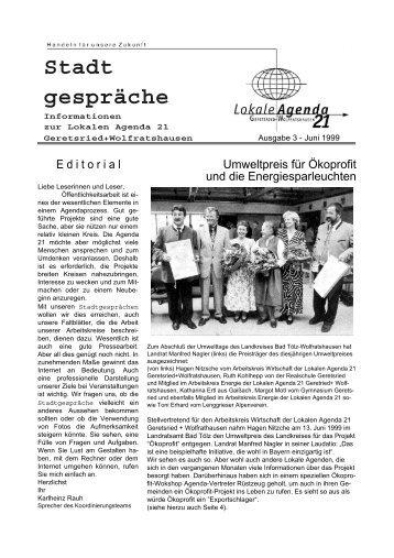 Stadt gespräche - Lokale Agenda 21 Geretsried + Wolfratshausen