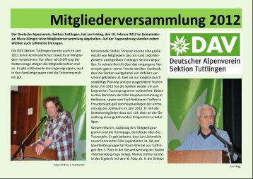 DAV Mitgliederversammlung 2012 - Sektion Tuttlingen