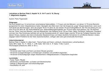 Lehrskizze zu Berliner Platz 2, Kapitel 14, S. 16-17 ... - Langenscheidt