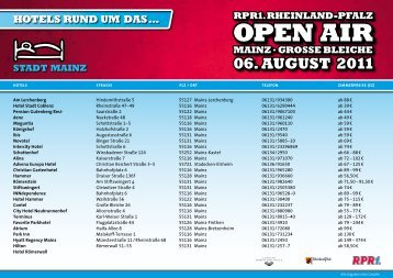 Open air rpr1.rheinland-pfalz Mainz.grOSSe bleiche 06. auguSt 2011