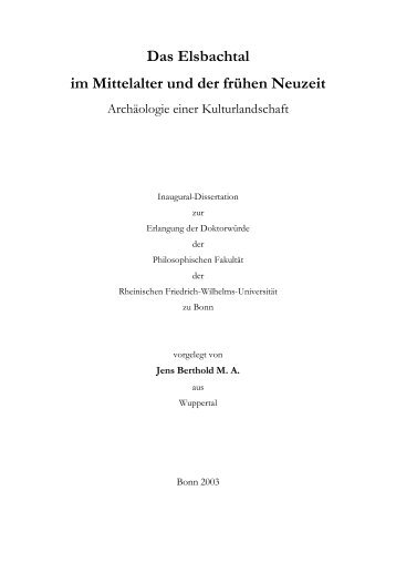 Das Elsbachtal im Mittelalter und der frühen Neuzeit - ULB Bonn ...